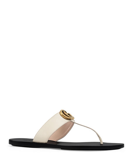 dfd9fd5925d Gucci Marmont Flat Marmont Leather Thong