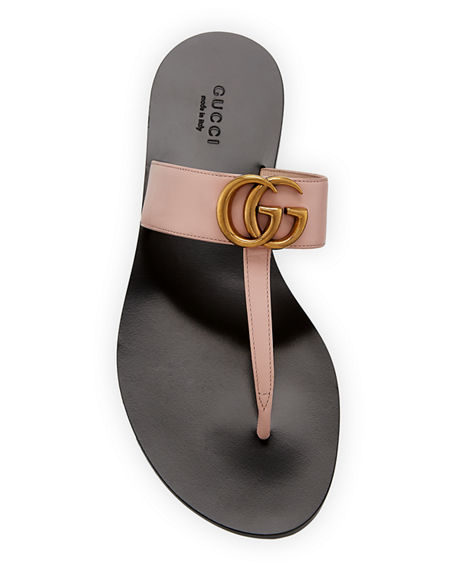 Image 3 of 4: Gucci Flat Marmont Leather Thong