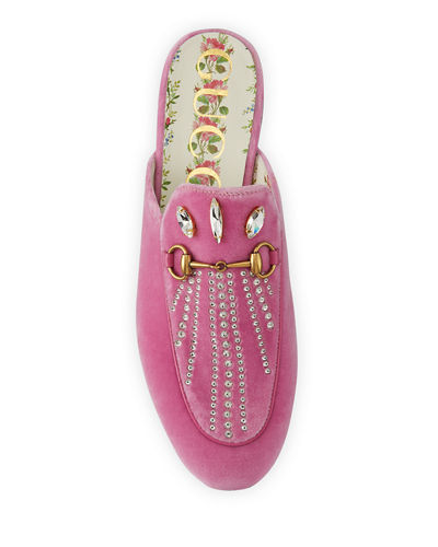 Flat Princetown Velvet Mule With Crystals