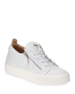Giuseppe Zanotti Mirrored leather low-top sneaker with glitter DOUBLE