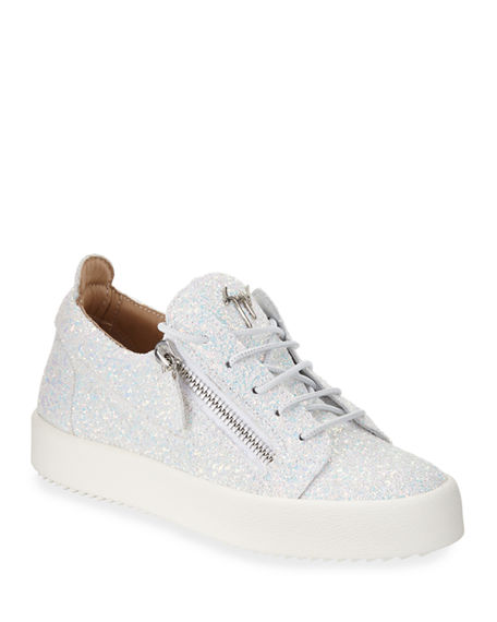 Giuseppe Zanotti Mirrored leather low-top sneaker with glitter DOUBLE 4PzUz0of