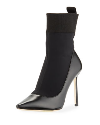 Image 1 of 5: Brandon IWANTCHOO Stretch Fabric/Leather Bootie