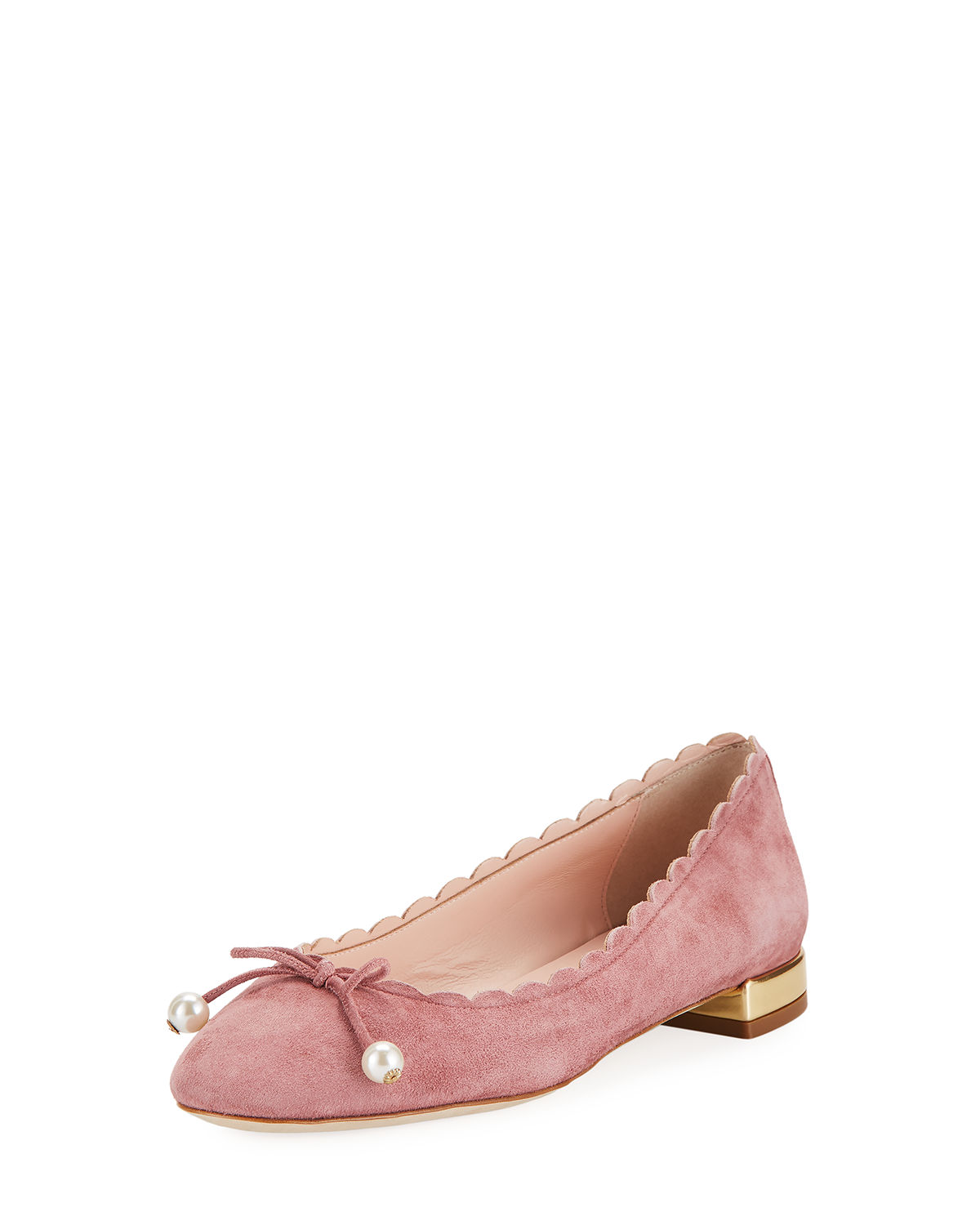 murray scalloped pearly-bow flat