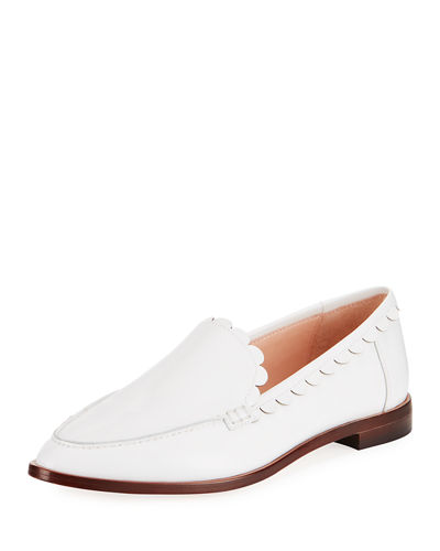 kate spade new york cape scallop-trim leather loafer