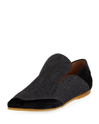 Dries Van Noten Glitter Pointed-Toe Loafers