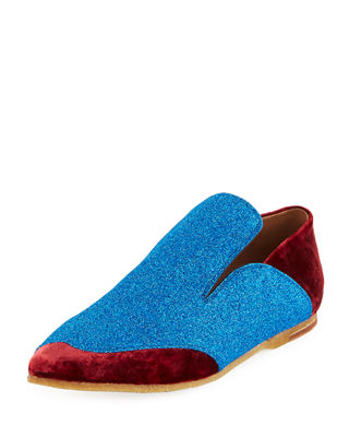 Dries Van Noten Drop-Back Colorblock Glitter/Velvet Loafer
