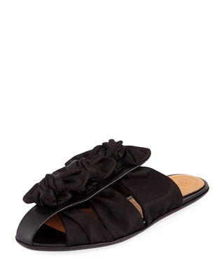 Capri Bow-Embellished Satin And Leather Slippers in Black