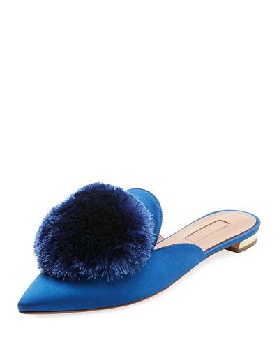 Powder Puff Satin Mule Flat