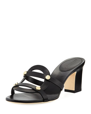 Image 1 of 3: Damaris Leather Slide Sandal with Studs