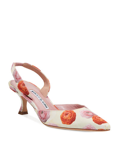 Carolyne 50mm Rose-Print Slingback Pump
