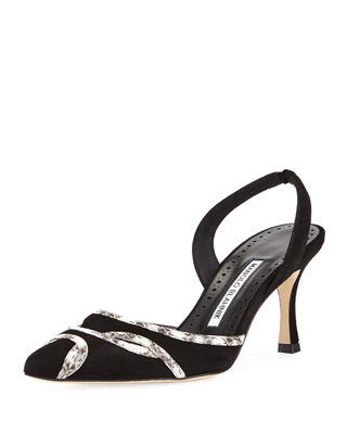 Image 1 of 3: Poncha Suede and Snakeskin Halter Pump
