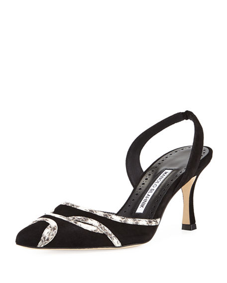 where to buy cheap real Manolo Blahnik Snakeskin-Trimmed Suede Pumps purchase cheap price cost outlet new styles 6i9CRCT