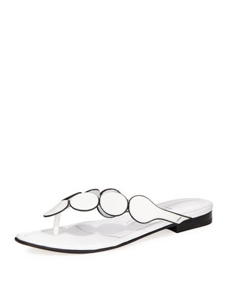 Manolo Blahnik Ariflat Leather Thong Sandals