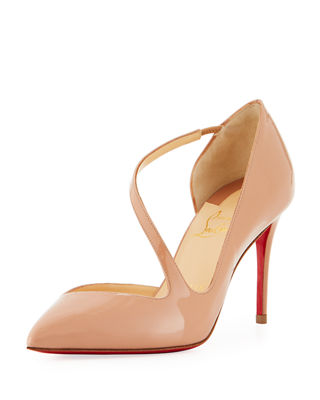 Jumping Asymmetric Red Sole Pump, Beige