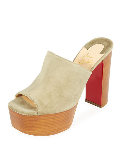 UK Suede Platform Red Sole Mule Sandal