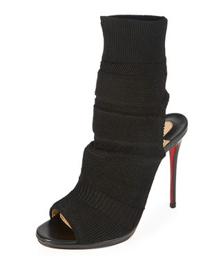 Christian Louboutin Cheminene Stretch-Knit Open-Toe Red Sole