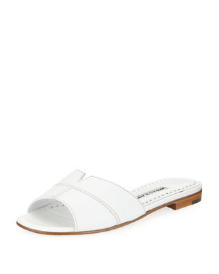 Manolo Blahnik Lasatte Notched Flat Leather Slide Sandal