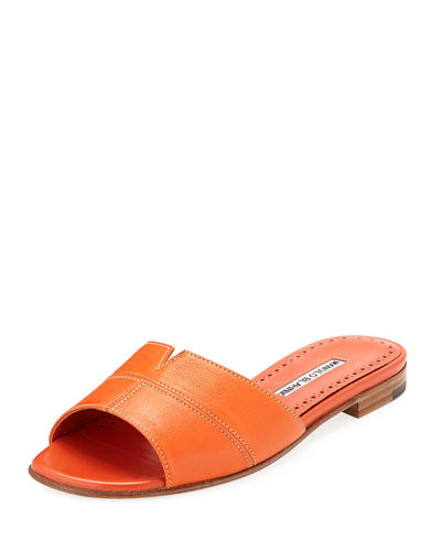 Lasatte Notched Flat Leather Slide Sandal