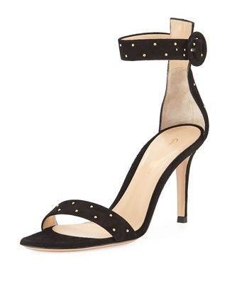 Portofino Studded Suede Ankle-Wrap Sandal