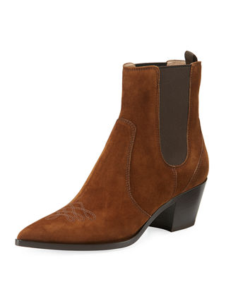 Image 1 of 3: Suede Gored Cowboy Boot