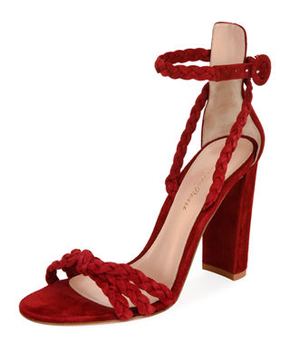 Gianvito Rossi Braided Satin Ankle Strap Sandals