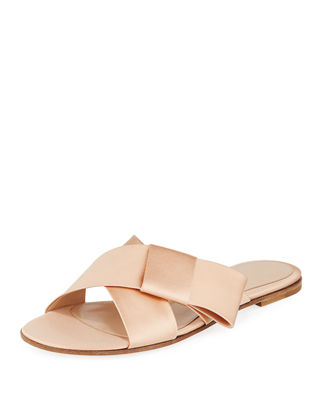 Gianvito Rossi Flat Satin Ribbon Slide Sandal