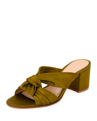 Satin Bow Knot Slide Sandal in Emerald