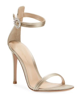 Pleated Satin Embellished 105mm Sandal