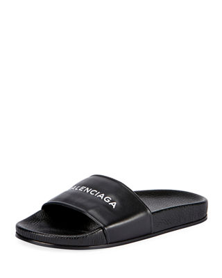 Logo Flat Pool Slide Sandal, Noir/Blanc from SSENSE