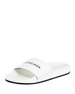 Women'S Logo-Stamped Leather Slide Sandals, Blanc/Noir from SSENSE
