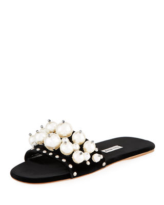 Image 1 of 4: Pearly Velvet Slide Sandal