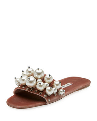Imitation Pearl Embellished Slide Sandal in Pink