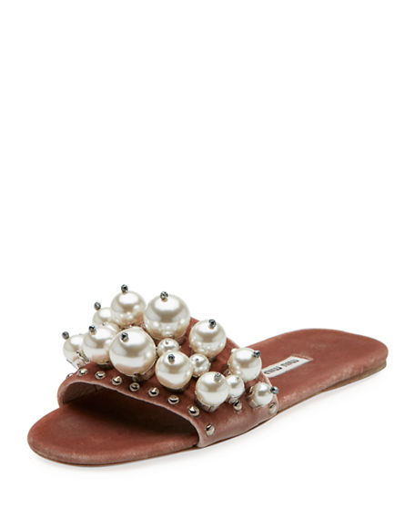 Shopping Online For Sale Miu Miu Embellished Metallic Slide Sandals Sale Fast Delivery Clearance Inexpensive Outlet Geniue Stockist qYhYZp8TSD