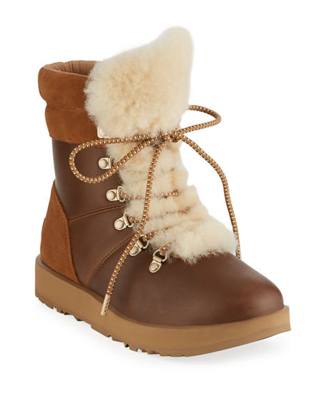 UGG Australia Leather Shearling-Trimmed Boots Free Shipping Best Place Buy Cheap Visit New Lowest Price 7MZuDH