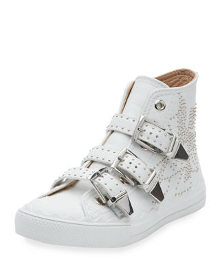 CHLOE KYLE SEMI-SHINY CALF LEATHER BUCKLE SNEAKERS IN WHITE
