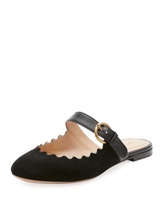 Chloe Lauren Flat Suede Mary Jane Slide