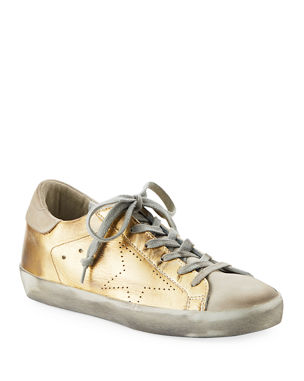 139fbe79ab1 Golden Goose Metallic Leather Lace-Up Platform Sneakers