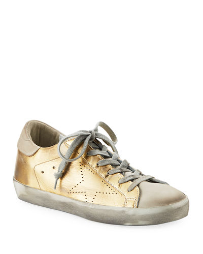 Metallic Leather Lace-Up Platform Sneakers