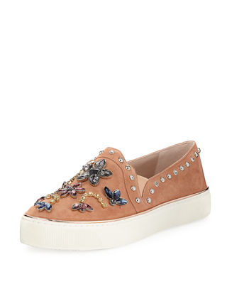 Stuart Weitzman Embellished Slip On Sneakers