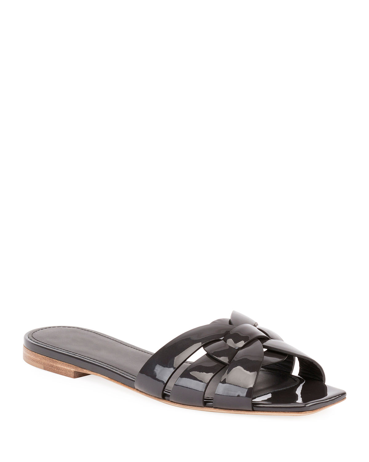 3d02b964ced2 Saint Laurent Tribute Patent Leather Flat Slide Sandals