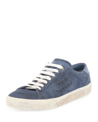 Saint Laurent Logo-Writing Suede Low-Top Sneaker