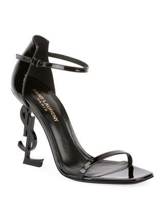 Saint Laurent Patent Sandal with Logo Heel