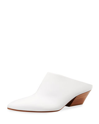 Vigo Leather Block-Heel Mule