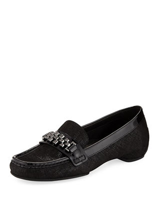 Donald J Pliner Fatema Chain Metallic Leather Loafer