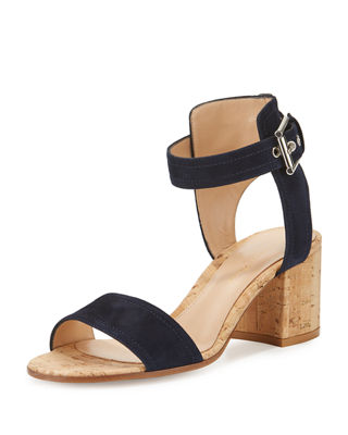 Gianvito Rossi Rikki Low Suede 60mm Chunky-Heel Sandal