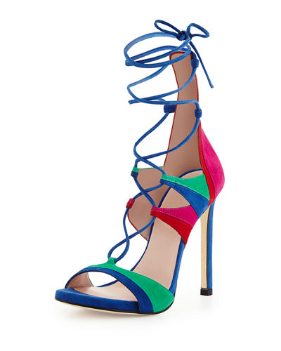 Stuart Weitzman Leg-Wrap Strappy Lace-Up Sandal