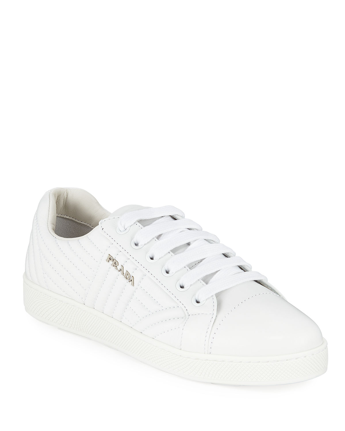 2cf05d0fd485 Prada Stitched Leather Low-Top Sneakers