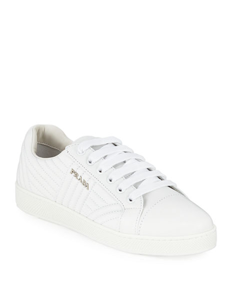 Lowest Price Cheap Online Shipping Discount Authentic Prada Quilted leather white sneakers Low Price Fee Shipping Online MG8hhEOH