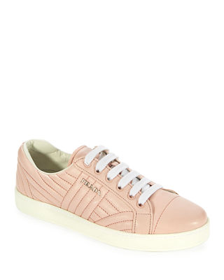 Stitched Leather Low-Top Sneakers, Rosa