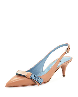 Image 1 of 4: Logo-Bow Leather Slingback Pump